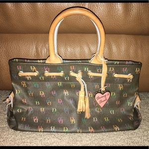 Vintage Dooney & Bourke black w multicolor DB